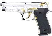 Beretta V92F 9MM PA Blank Firing Guns - Nickel Gold Engraved