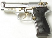 Beretta V92F Compact 9MM PA Blank Firing Guns - Nickel Gold Engraved