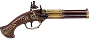 18TH CENTURY 3 BARREL FLINTLOCK PISTOL BRASS FINISH, WOOD GRIP