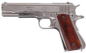 Replica M1911A1 Government Automatic Pistol Non-Firing Gun Nickel Finish, Wood Grips