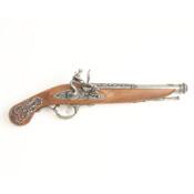 Colonial Engraved British 18TH Century Replica Flintlock Pistol Non-Firing