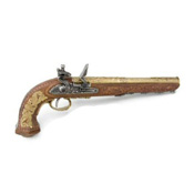 Colonial Replica Classic French Gold Dueling Pistol Non-Firing Gun