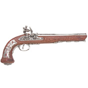 Colonial Replica Classic French Silver Dueling Pistol Non-Firing Gun