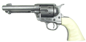 Old West Replica M1873 Antique Finish Quick Draw Revolver, Ivory Finger Grooved Grips Non-Firing Gun