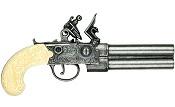 Colonial Double Barrel Flintlock Grey & Ivory Finish Replica Non-Firing Pistol