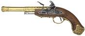 Left Handed India Flintlock Pistol Brass