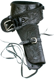 Single Tooled Black Leather Western Holster – Extra Large