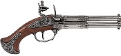 18TH CENTURY 2 BARREL FLINTLOCK PISTOL ANTIQUE GRAY FINISH, WOOD GRIP