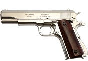 Replica M1911A1 Government Automatic Pistol Non-Firing Gun Nickel Finish with Wood Grips