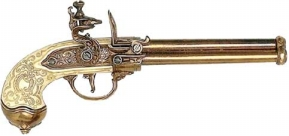 Three-Barrel Revolving Flintlock Pistol